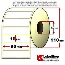 Rotolo da 3000 etichette adesive mm 90x15 Termiche 1 pista anima 40