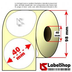 Rotolo da 1000 etichette adesive tonde diametro 40 mm vellum trasferimento termico