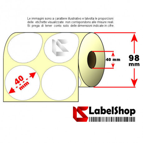 Rotolo da 2000 etichette adesive circolari diametro 40mm doppia fila