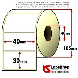 Rotolo da 1800 etichette adesive mm 40x30 vellum 1 pista anima 40
