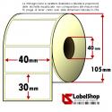 Rotolo da 1800 etichette adesive mm 40x30 Carta Vellum 1 pista anima 40