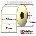 Rotolo da 2000 etichette adesive mm 50x20 Carta vellum 1 pista anima 40