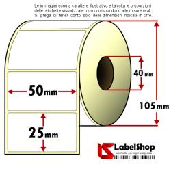 Rotolo da 2000 etichette adesive mm 50x25 Carta Vellum 1 pista anima 40