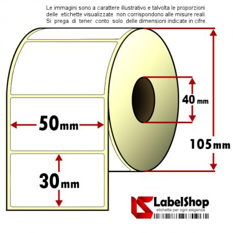 Rotolo da 1800 etichette adesive mm 50x30 vellum 1 pista anima 40