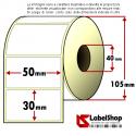 Rotolo da 1800 etichette adesive mm 50x30 Carta Vellum 1 pista anima 40