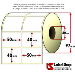 Rotolo da 2000 etichette adesive mm 50x40 Carta Vellum 2 piste anima 40