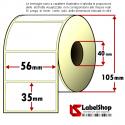 Rotolo da 1500 etichette adesive mm 56x35 Carta vellum 1 pista anima 40