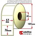 Rotolo da 700 etichette adesive mm 57x76 Carta Vellum 1 pista anima 40