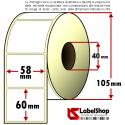 Rotolo da 750 etichette adesive mm 58x60 Carta vellum 1 pista anima 40
