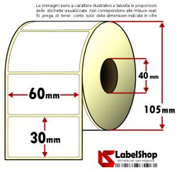 Rotolo da 1800 etichette adesive mm 60x30 Carta vellum 1 pista anima 40