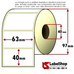 Rotolo da 1000 etichette adesive mm 63x40 Carta Vellum 1 pista anima 40