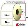 Rotolo da 1000 etichette adesive mm 63x40 vellum 1 pista anima 40