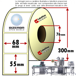 Rotolo da 3000 etichette adesive mm 68x55 Carta vellum 1 pista anima 76 colla forte per surgelati
