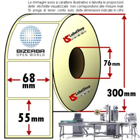 Rotolo da 3000 etichette adesive mm 68x55 vellum 1 pista anima 76 colla forte TOP protetta per Bizerba