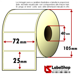 Rotolo da 2000 etichette adesive mm 72x25 Carta vellum 1 pista anima 40