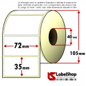 Rotolo da 1500 etichette adesive mm 72x35 Carta Vellum 1 pista anima 40