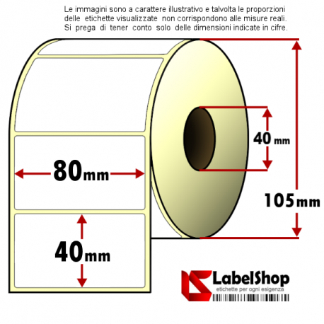 Rotolo da 1150 etichette adesive mm 80x40 vellum 1 pista anima 40