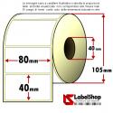 Rotolo da 1150 etichette adesive mm 80x40 Carta Vellum 1 pista anima 40
