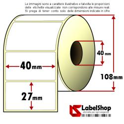 Rotolo da 2000 etichette adesive mm 40x27 Termiche 1 pista anima 40