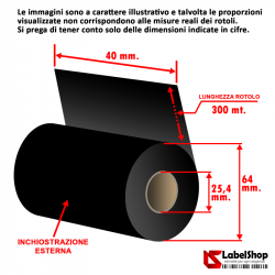 Ribbon H 40 mm x 300 m. ink out WAX - Nastro carbongrafico a base cera per stampa a trasferimento termico (Ribbon in Cera)