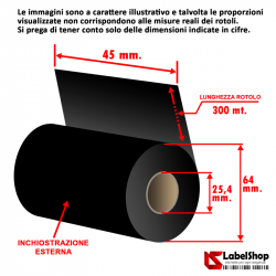 Ribbon indelebile tessile H 45 mm x 300 m. ink out - Nastro carbongrafico a base resina per textyle e stone wash - Ricoh D110A