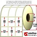 Rotolo da 6000 etichette adesive mm 33x40 Carta Vellum 3 piste anima 40