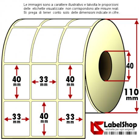 Rotolo da 6000 etichette adesive mm 33x40 Termiche 3 piste anima 40