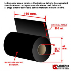 Ribbon 110 mm x 300 m. ink out WAX - Nastro carbongrafico a base cera per stampa a trasferimento termico (Ribbon in Cera)