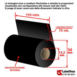 Ribbon 110 mm x 74 m. ink out WAX - Nastro carbongrafico a base cera per stampa a trasferimento termico (Ribbon in Cera)
