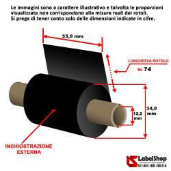 Ribbon 55 mm x 74 m. ink out WAX - Nastro carbongrafico a base cera per stampa a trasferimento termico (Ribbon in Cera)