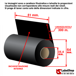 Ribbon H 51 mm x 300 m. ink in WAX - Nastro carbongrafico a base cera per stampa a trasferimento termico (Ribbon in Cera)