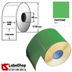 Rotolo da 600 etichette adesive colorate verde mm 100x100 Carta Termica - foro 40mm - 10x10