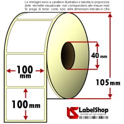Rotolo da 500 etichette adesive mm 100x100 Termiche 1 pista anima 40 100x102 10x10