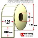 Rotolo da 500 etichette adesive mm 100x100 Carta vellum 1 pista anima 40 100x102 - 10x10