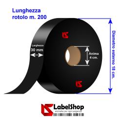 Nastro in Raso satin Nero H30 mm per etichette tessili