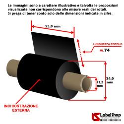 Ribbon 55x74 ink out Resina textile - Nastro carbongrafico a base resina per stampa a trasferimento termico su etichette tessili