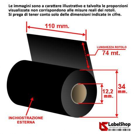 nastro carbongrafico ribbon foil cera resina trasferimento termico polliammide raso rotolo rolls
