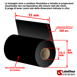 Ribbon Textile Supra 35x300 ink out - Nastro carbongrafico indelebile a base resina resistente allo stiro e ai lavaggi