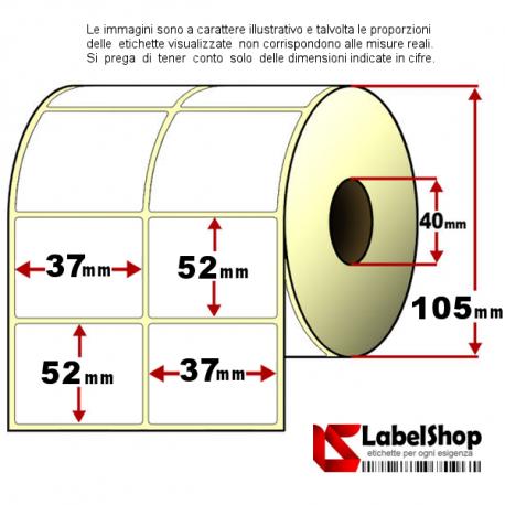 Rotolo da 2000 etichette adesive mm 37x52 vellum 2 piste anima 40