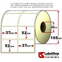 Rotolo da 2000 etichette adesive mm 37x52 in carta Vellum per trasferimento Termico 2 piste anima 40
