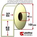 Rotolo da 1000 etichette adesive mm 37x52 in carta Vellum per trasferimento Termico anima 40