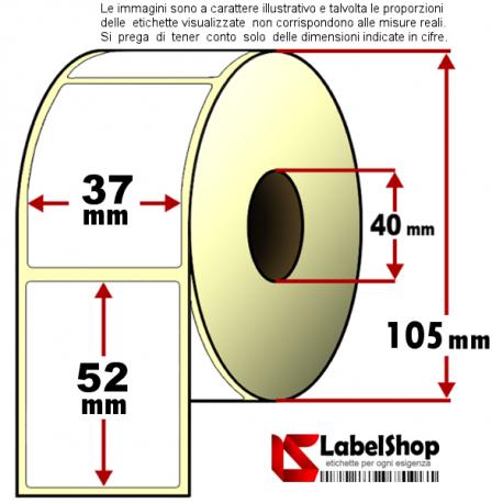 Rotolo da 1000 etichette adesive mm 37x52 Termiche anima 40