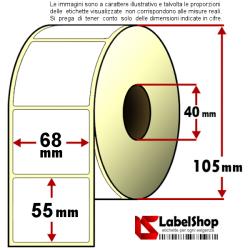 Rotolo da 1000 etichette adesive mm 68x55 Carta vellum 1 pista anima 40 collante permanente