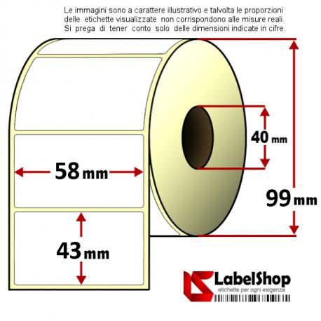 Rotolo da 1000 etichette adesive mm 58x43 Termiche 1 pista anima 40