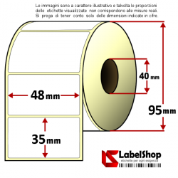 Rotolo da 1500 etichette adesive mm 48x35 Vellum 1 pista anima 40