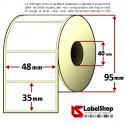 Rotolo da 1500 etichette adesive mm 48x35 Termiche 1 pista anima 40