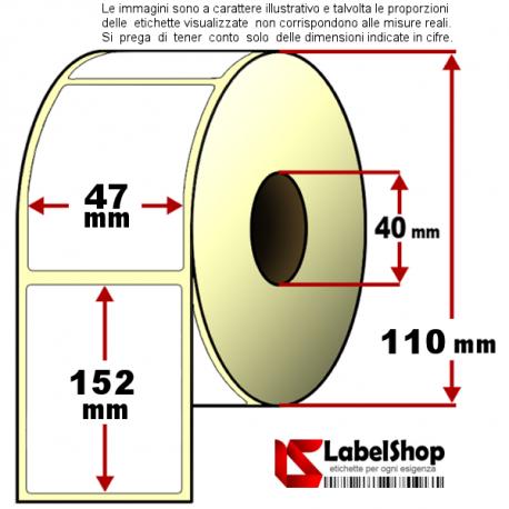 Rotolo da 400 etichette adesive mm 47x152 Termiche anima 40