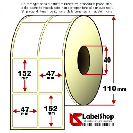 Rotolo da 800 etichette adesive mm 47x52 Termiche 2 piste anima 40