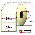 Rotolo da 1800 etichette adesive mm 60x30 Termiche 1 pista anima 40
