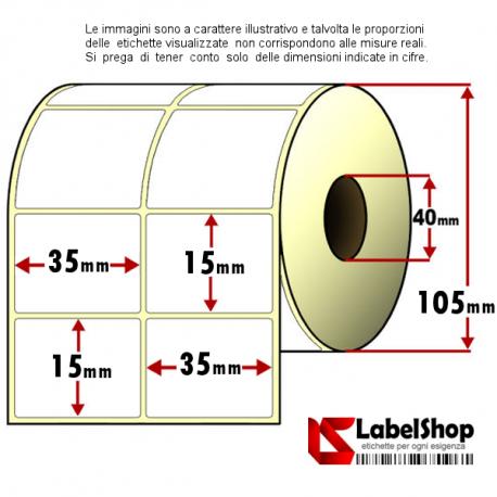 Rotolo da 6000 etichette adesive mm 35x15 Termiche 2 piste anima 40